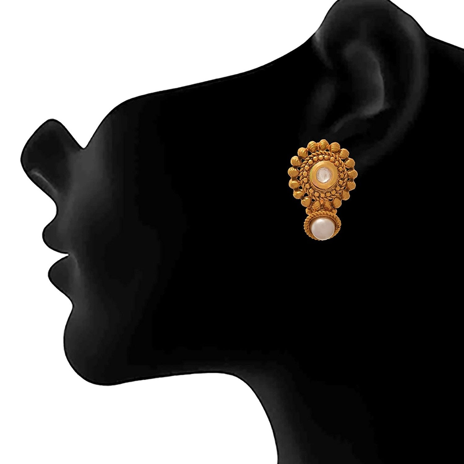 JFL - Traditional Ethnic One Gram Gold Plated Pearl & Kundan Designer Earring for Women & Girls