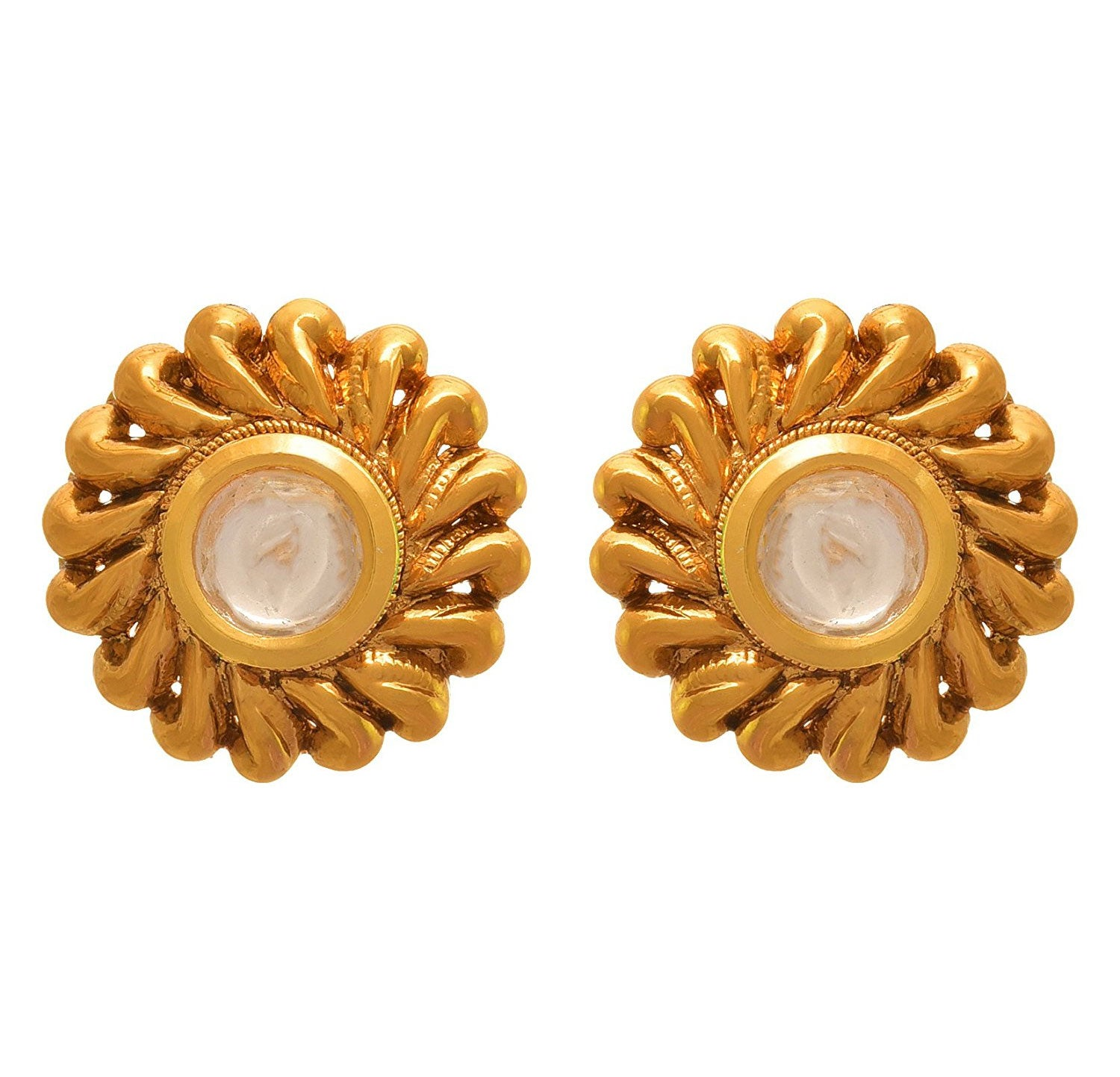 10781d275 JFL - Traditional Ethnic One Gram Gold Plated Kundan Designer Stud Earring  for Women & Girls