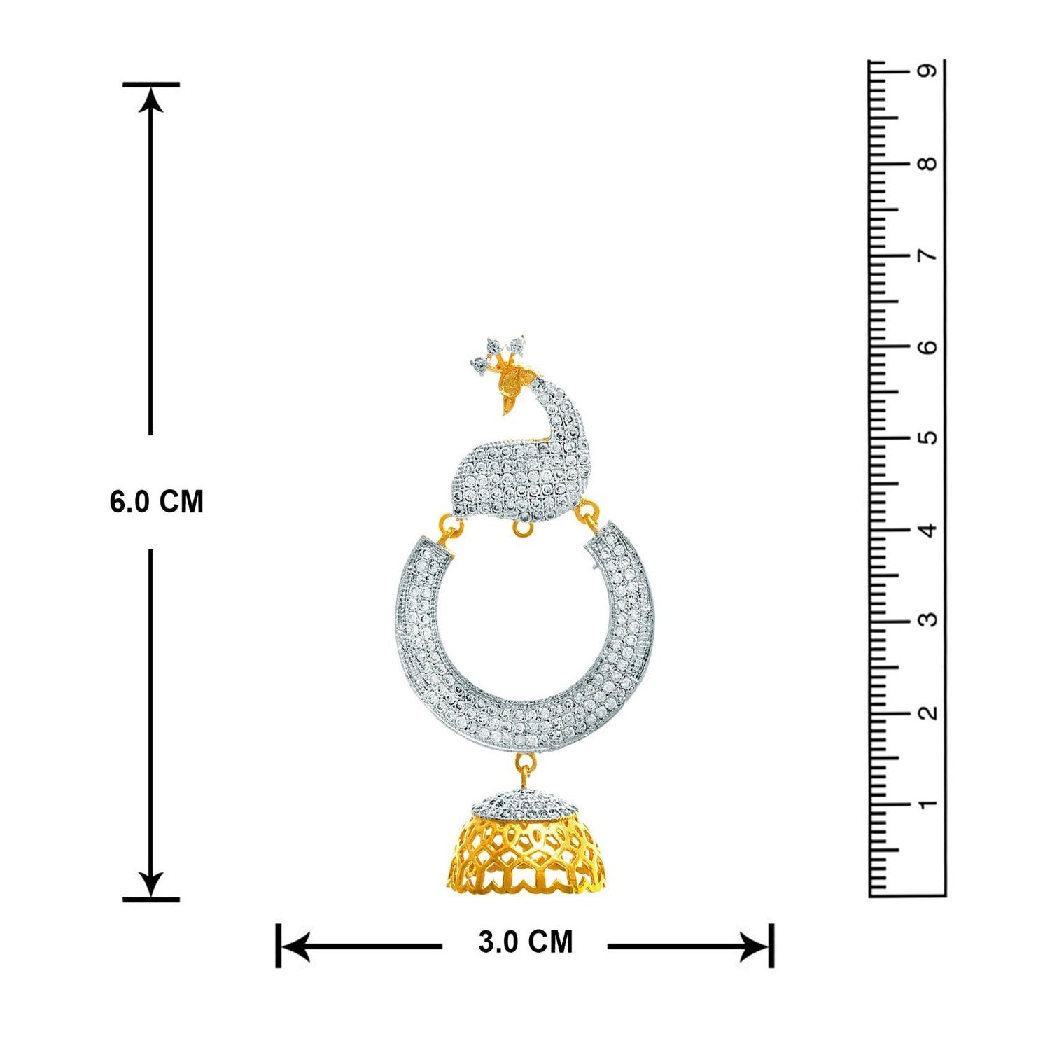 JFL -Traditional Fashion Ethnic One Gram Gold Plated Cz American Diamond Peacock Designer Earring for Women.