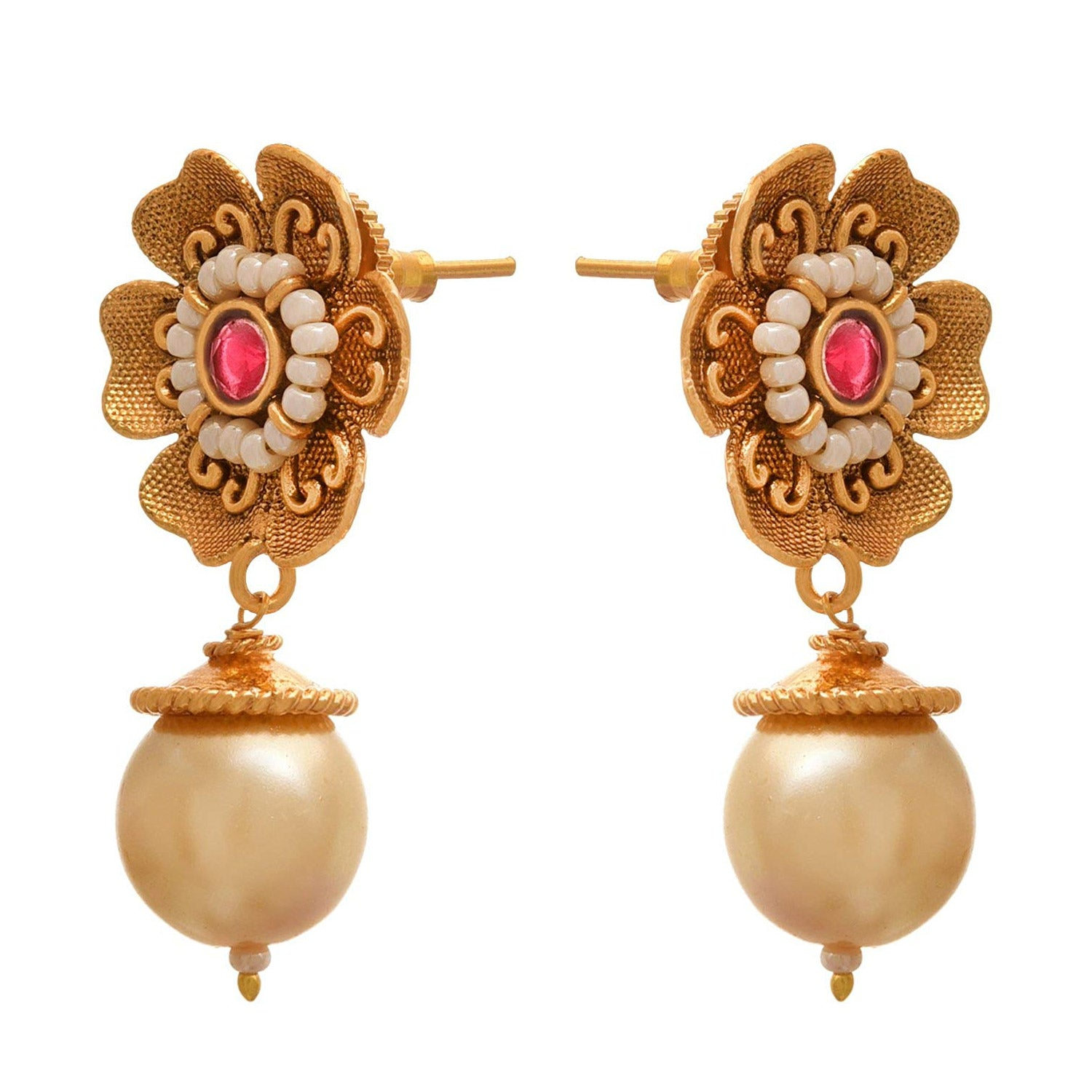 JFL - Traditional Ethnic One Gram Gold Plated Polki / Champagne Diamond Designer Earring For Women & Girls.