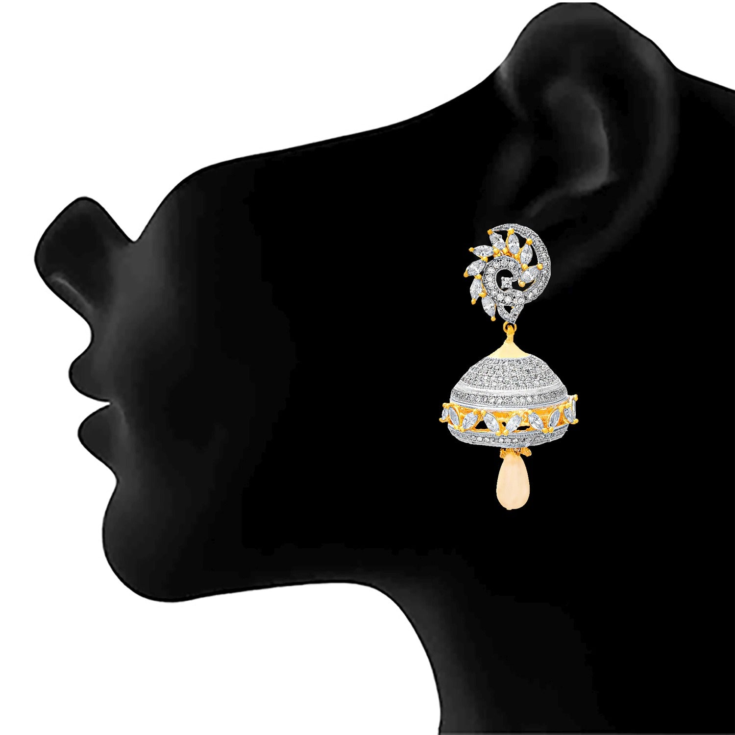 JFL -Traditional Stylish Ethnic One Gram Gold Plated Cz American Diamond Designer Earring for Women & Girls.