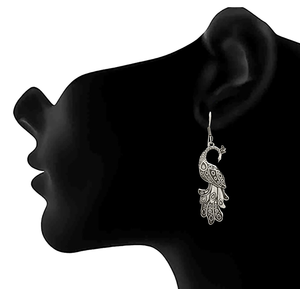 JFL - Traditional Ethnic Handmade German Silver Plated Oxidised Peacock Designer Earring For Women & Girls.