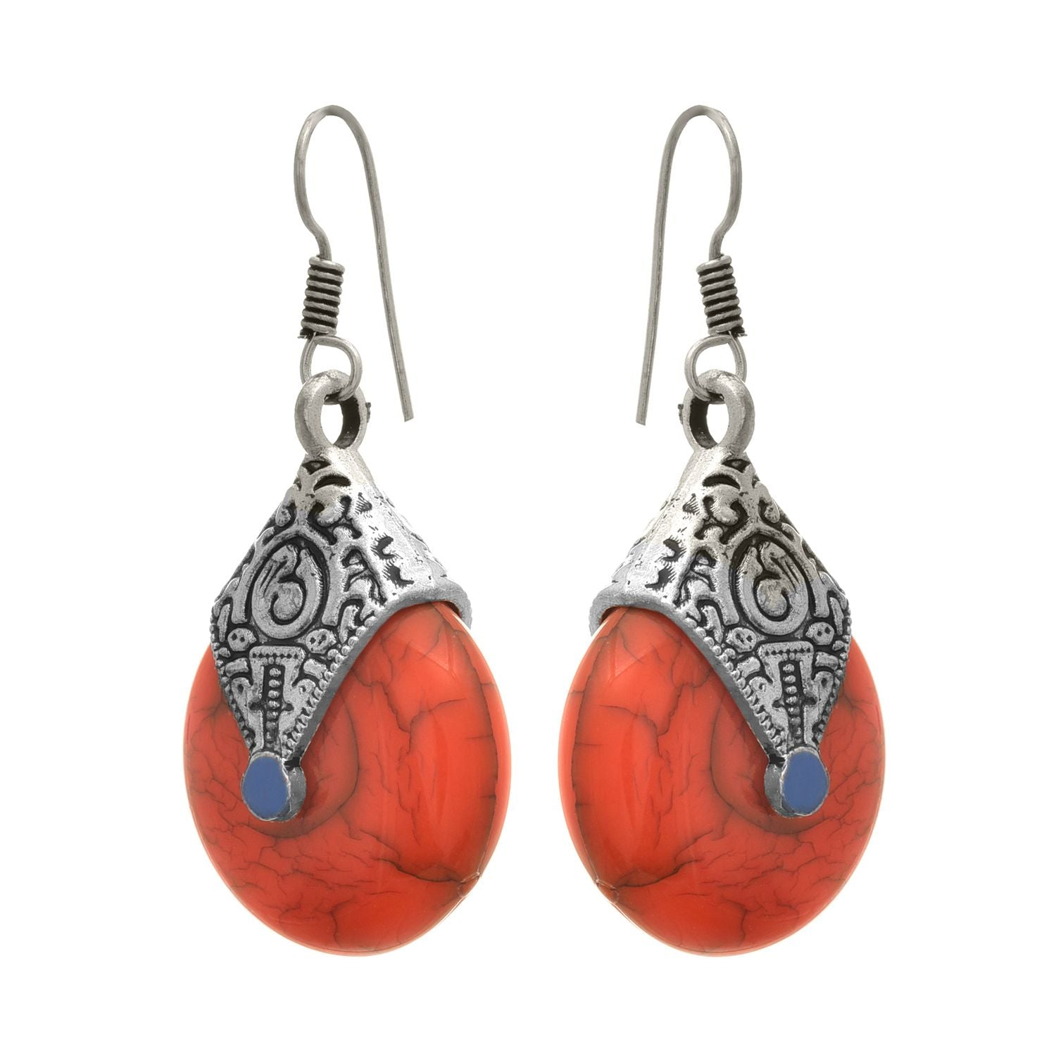 JFL -Traditional Ethnic German Silver Plated Earrings With Faux Semi Precious Brown Stone For Women & Girls.