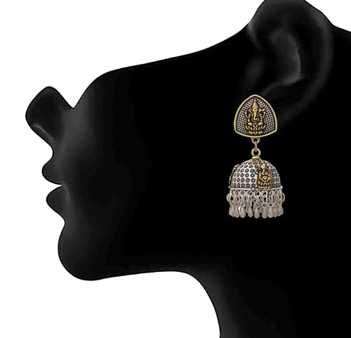 JFL -Traditional Ethnic Handmade German Silver Plated Oxidised Dual Tone Lord Ganesha Designer Earring For Women & Girls.