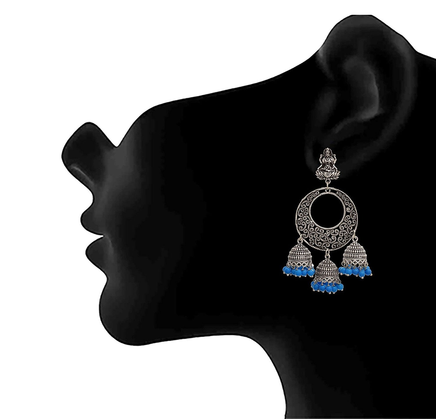 JFL - Traditional Ethnic Handmade German Silver Plated Oxidised Goddess Laxmi Designer Earring For Women & Girls.