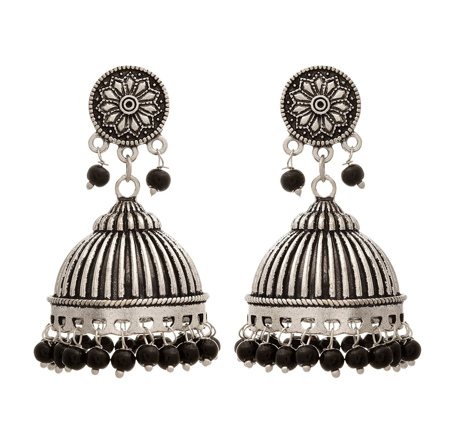 JFL - Traditional Ethnic Handmade German Silver Plated Oxidised Floral Designer Jhumka Earring For Women & Girls.
