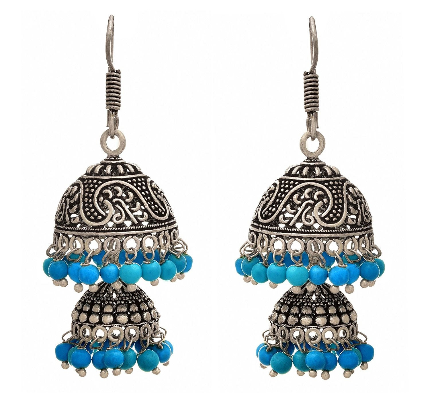 JFL - Traditional Ethnic Handmade German Silver Plated Oxidised Bead Designer Earring For Women & Girls.