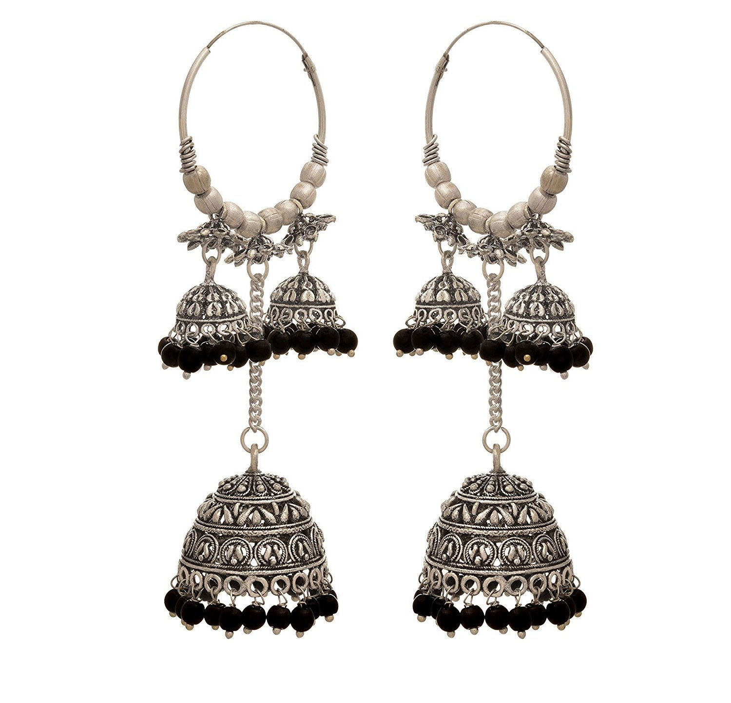 JFL - Traditional Ethnic Handmade German Silver Plated Oxidised Bead Designer Chandelier Jhumka Earring For Women & Girls.