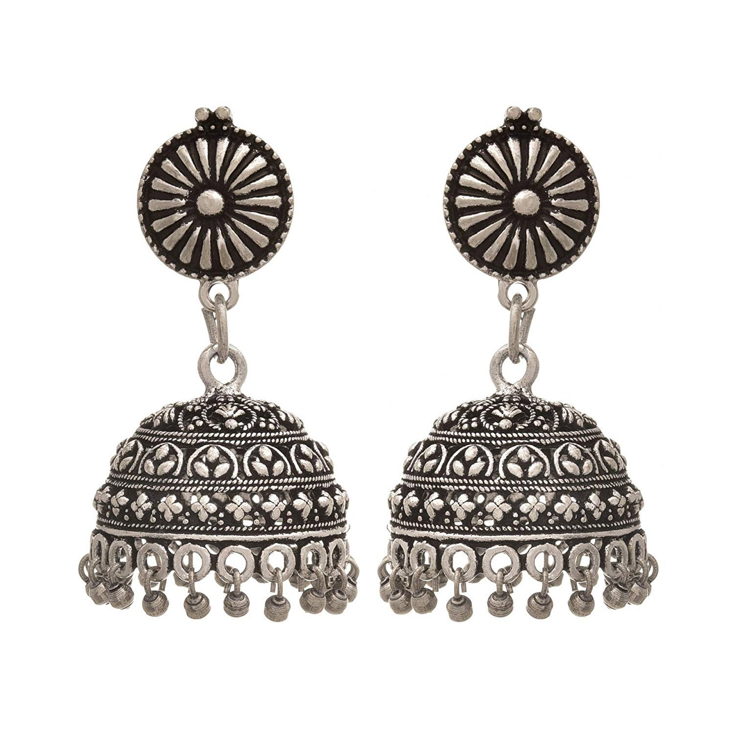 JFL - Traditional Ethnic Handmade German Silver Plated Oxidised Floral Designer Jhumki Earring For Women & Girls.