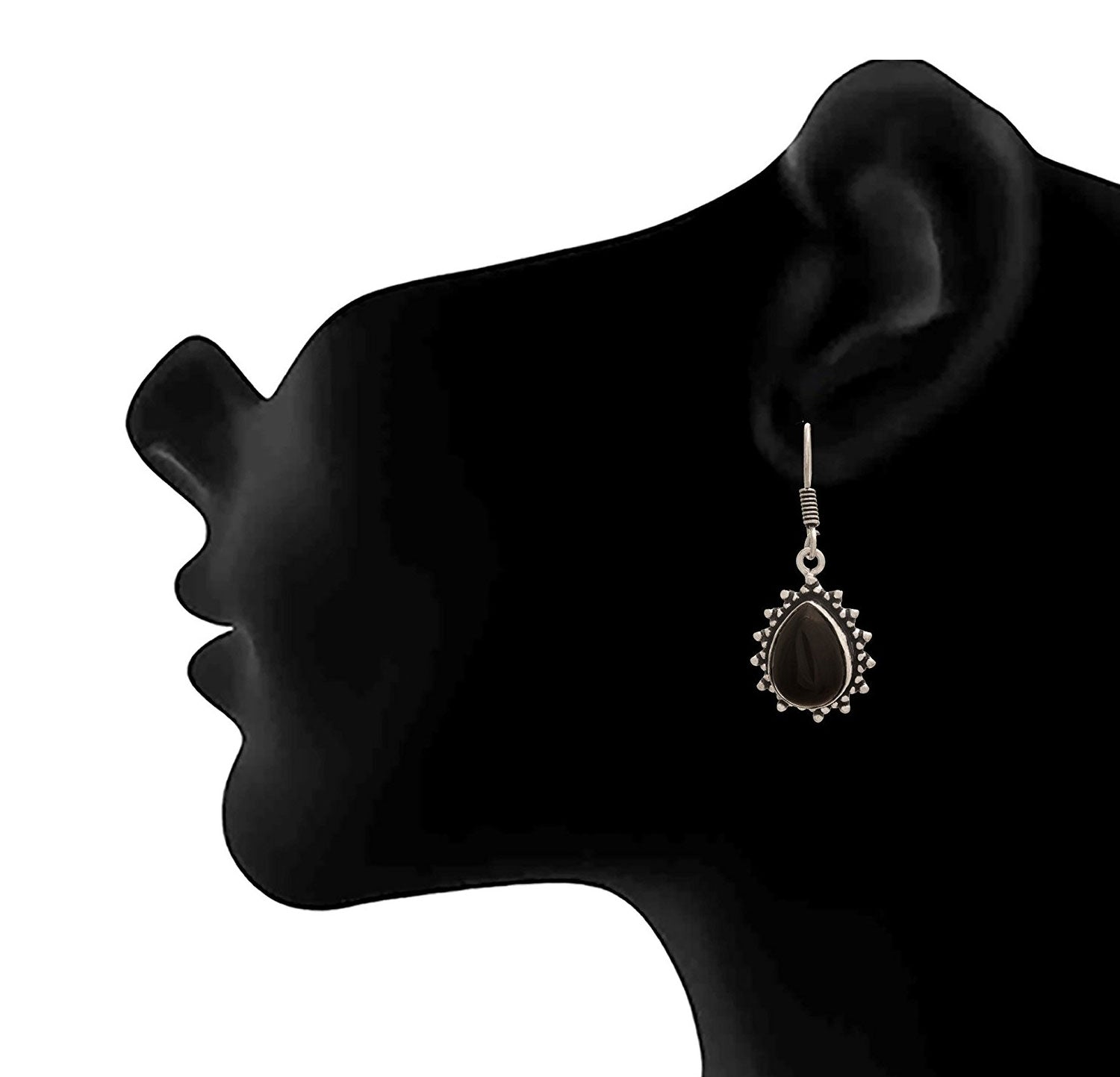 JFL - Traditional Ethnic Handmade German Silver Plated Oxidised Opal Gemstone Designer Earring For Women & Girls.