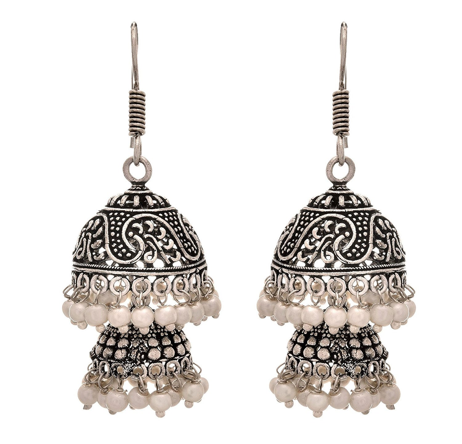 JFL - Traditional Ethnic Handmade German Silver Plated Oxidised Pearl Designer Earring For Women & Girls.