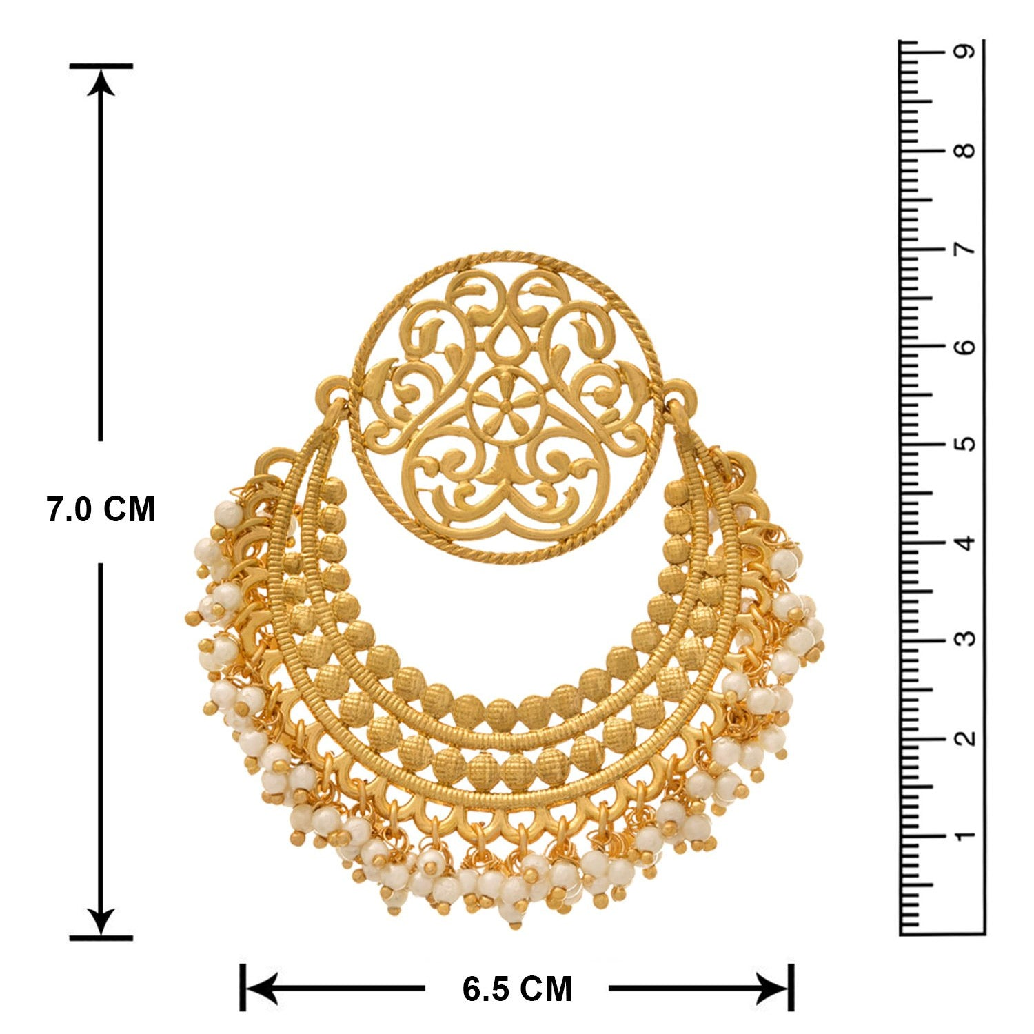 JFL - Jewellery for Less Traditional Ethnic One gm Gold Plated Chandbali Earring for Women
