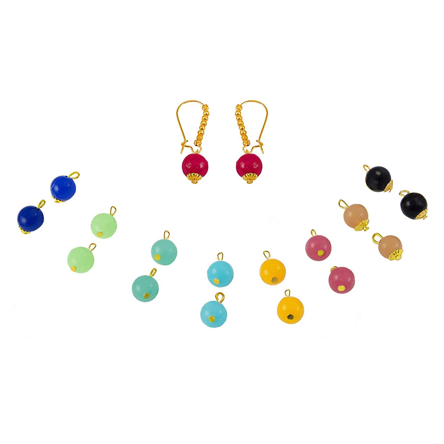 JFL - Jewellery for Less Traditional Ethnic Fusion 1 g Gold Plated Changeable 9 in 1 Multicolour Bead Earrings for Women