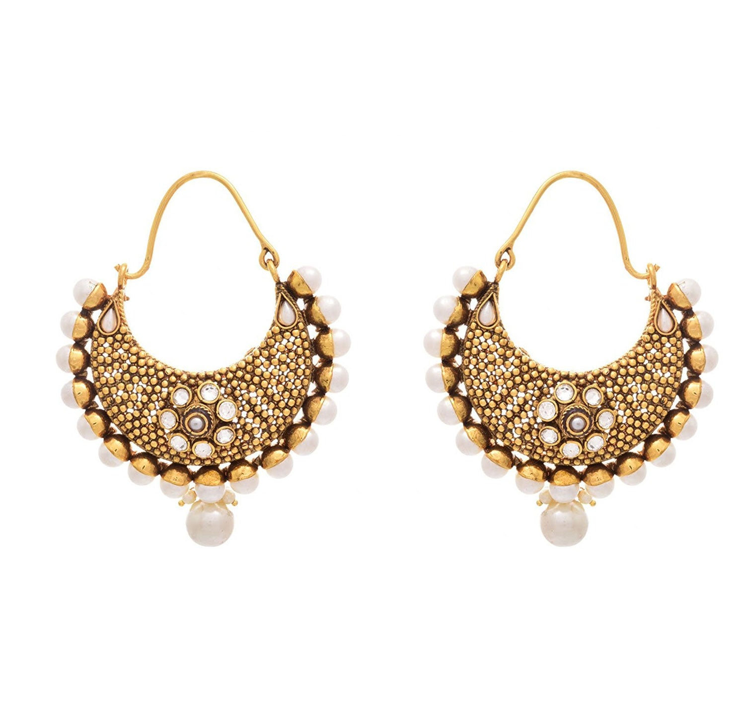 JFL - Traditional Ethnic One Gram Gold Plated Pearl & Polki Designer Bali Earring for Women & Girls