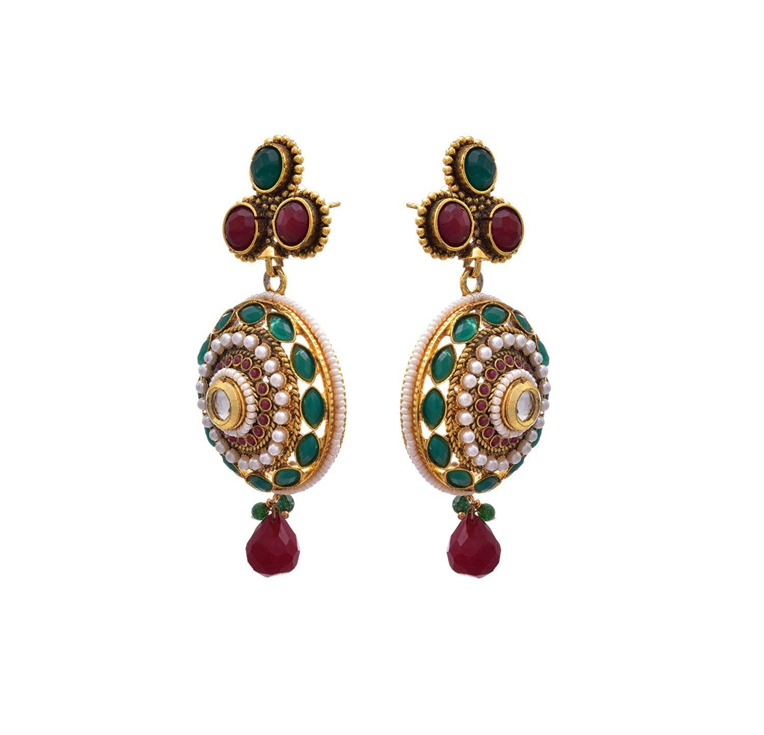 JFL - Traditional Ethnic One Gram Gold Plated Red Green Stone Pearl Kundan Designer Earring with Dangler for Women & Girls.