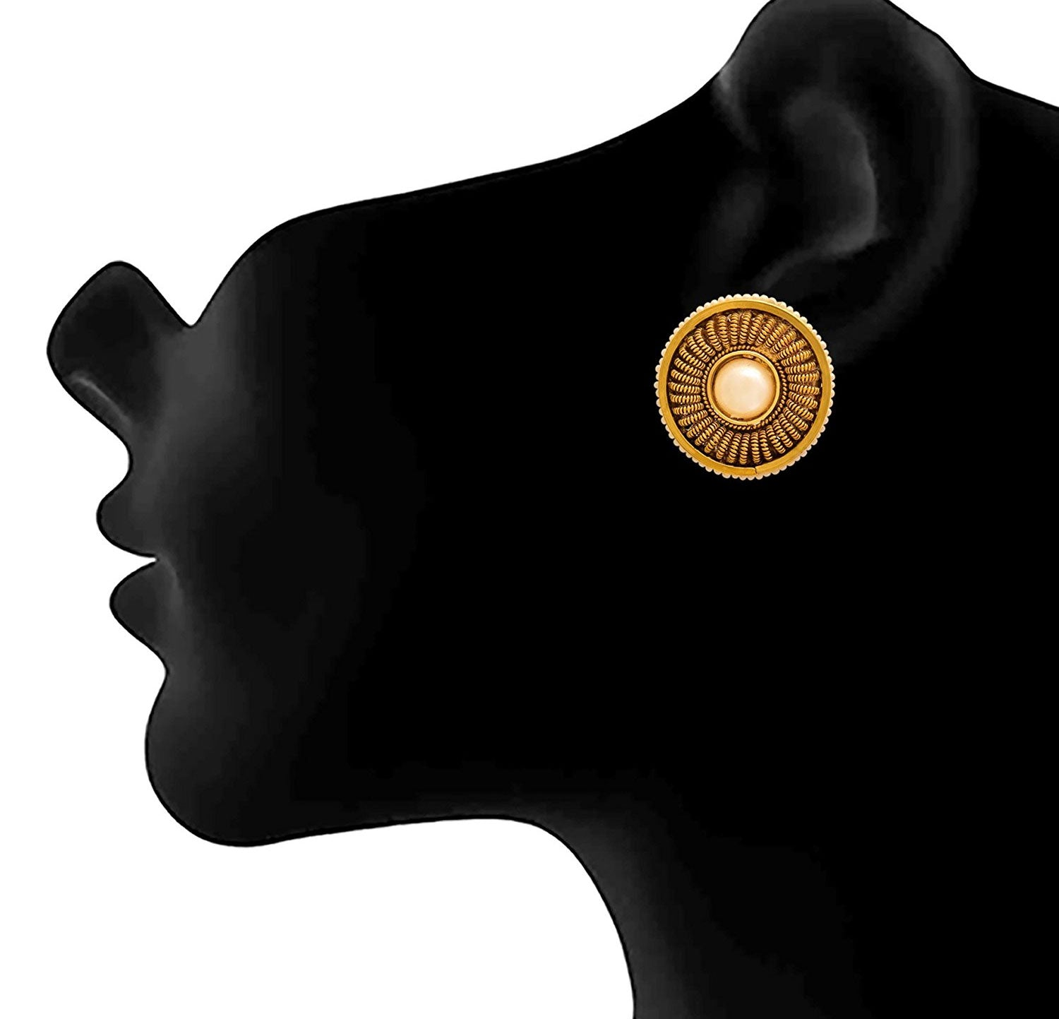 JFL - Traditional Ethnic One Gram Gold Plated Pearl Designer Earring Stud For Women & Girls.