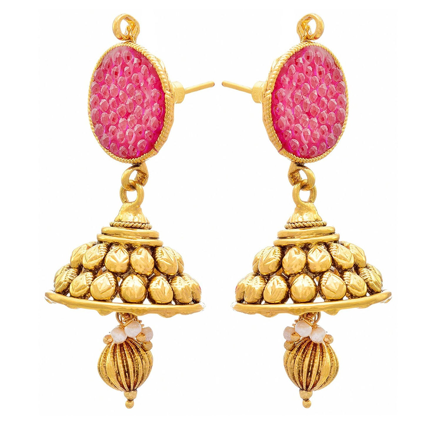 Traditional Ethnic One Gram Gold Plated Pink Stone Designer Jhumka Earring for Girls & Women.