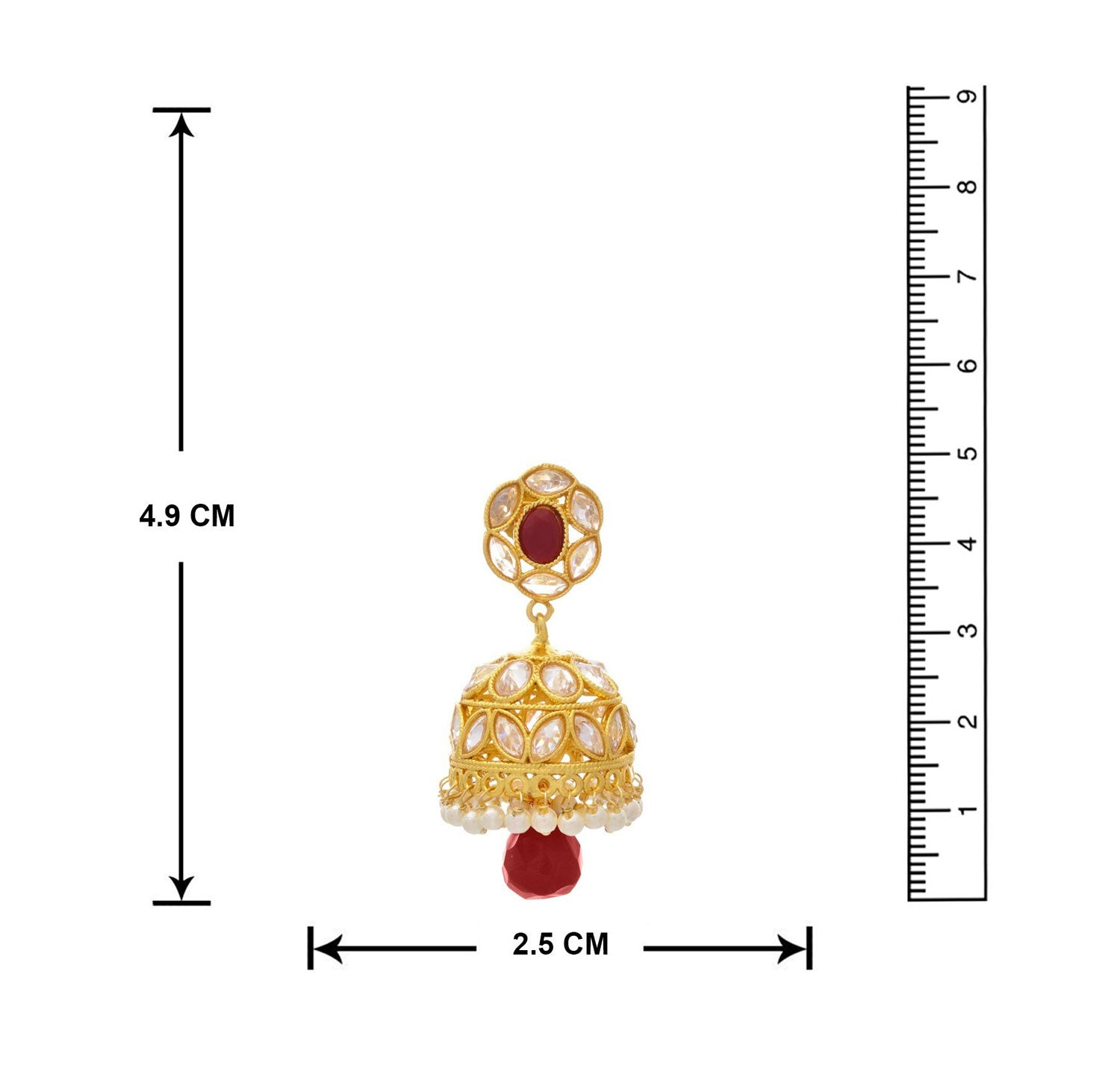 JFL - Traditional Ethnic One Gram Gold Plated Cz American Diamond Red Stone Pearl Designer Jhumki Earring for Women & Girls