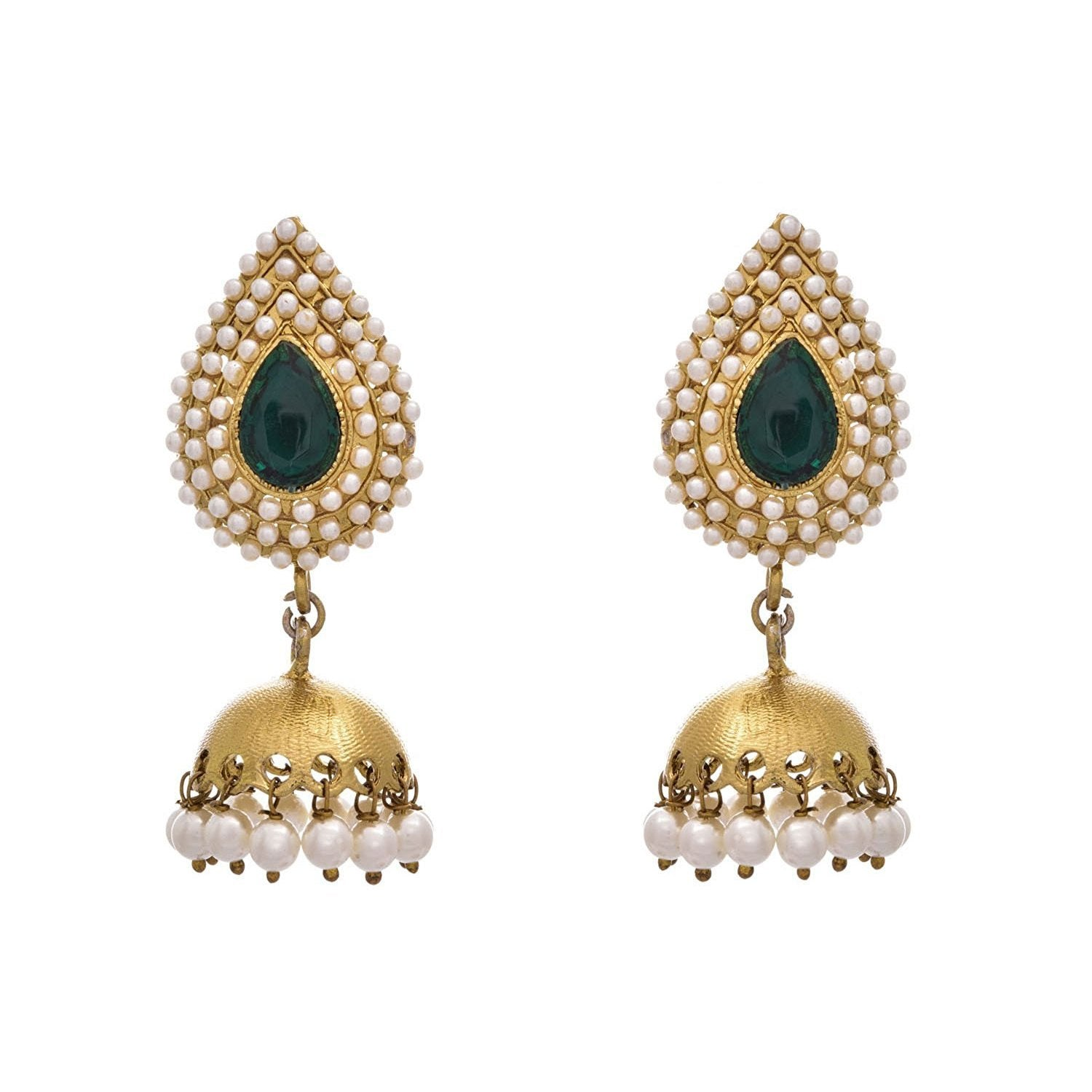 JFL - Fusion Ethnic One Gram Gold Plated Pearl Green Designer Jhumka For Women & Girls.