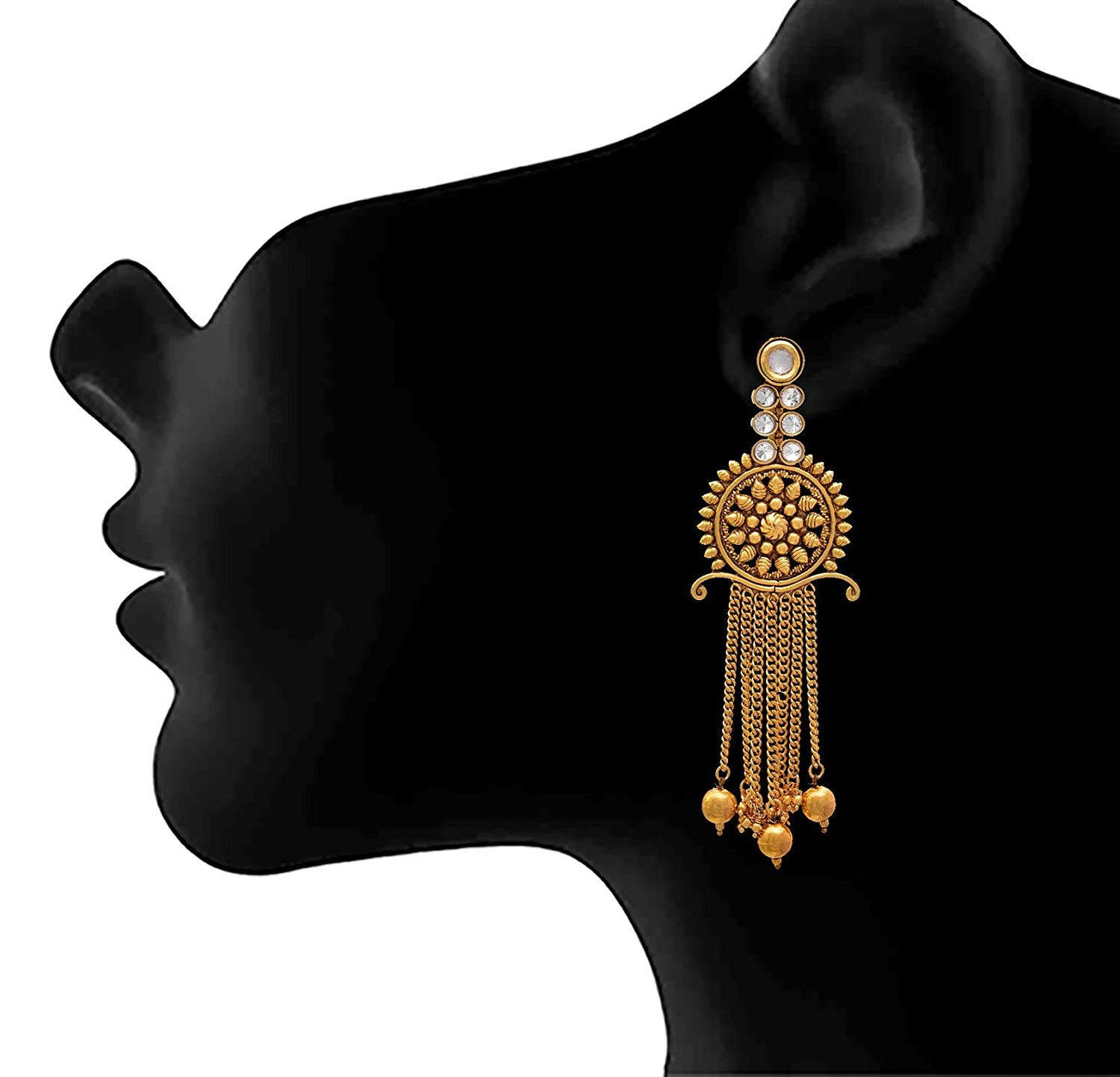 JFL - Traditional Ethnic One Gram Gold Plated Kundan & Polki Diamonds Designer Earring for Women & Girls.