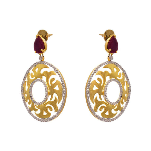 Fusion Ethnic One Gram Gold Plated Cz American Diamond Earring for Girls & Women.