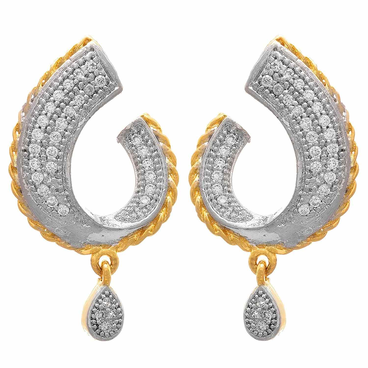 JFL - Fusion Ethnic One Gram Gold Plated Cz American Diamonds Designer Earrings for Women & Girls.