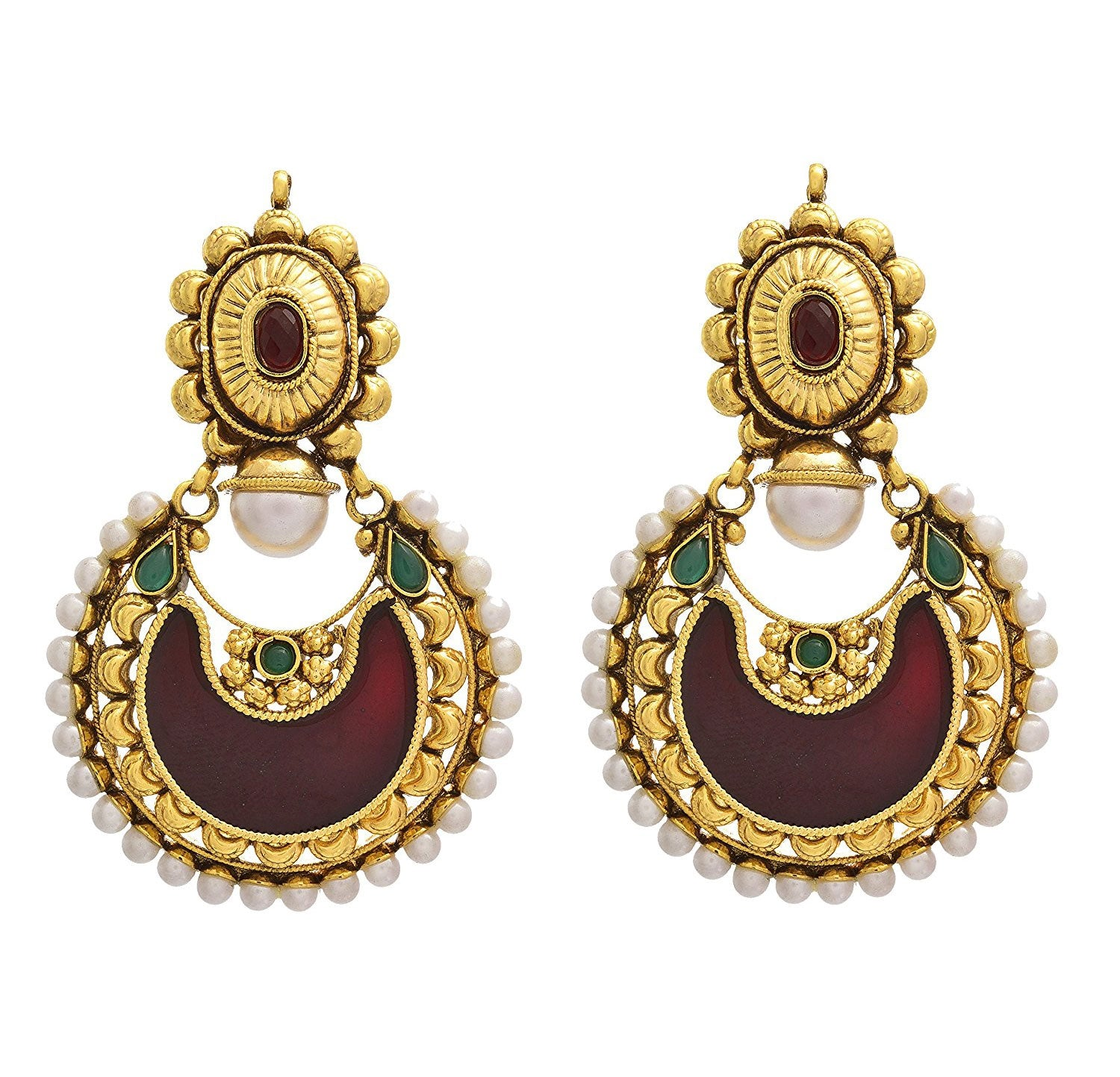 JFL- Traditional Ethnic One Gram Gold Plated Pearl Designer Chand Bali Earrings for Women and Girls.