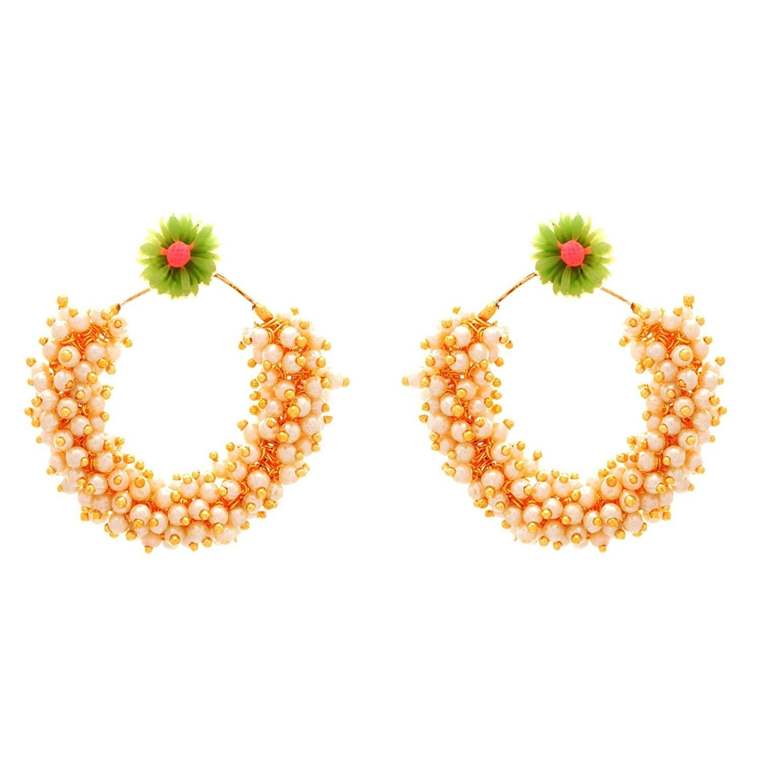 JFL - Fusion Ethnic Changeable Fab Floral Flower Designer One Gram Gold Plated White Pearls Bali Earrings for Girls & Women.