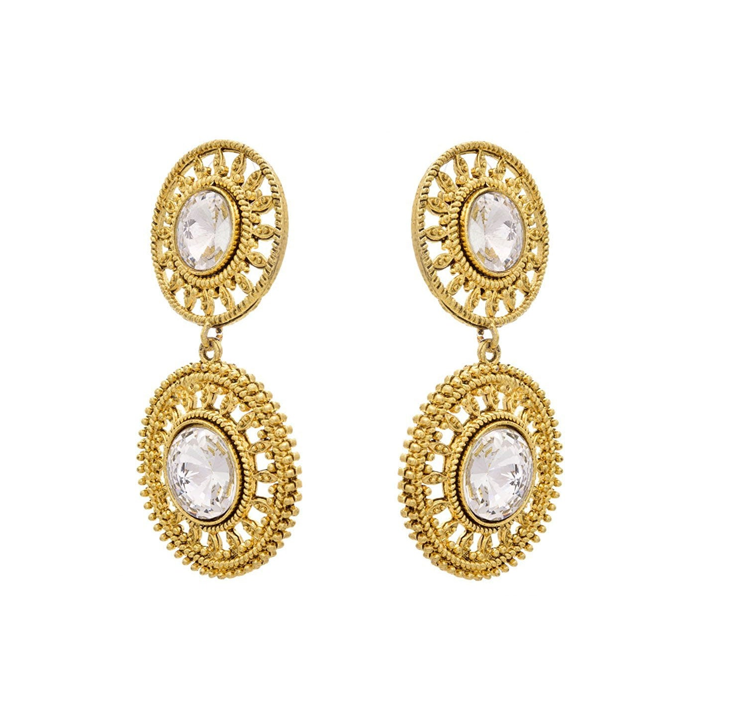 JFL- Fusion Ethnic One Gram Gold Plated White Diamond Designer Earring for Women & Girls.