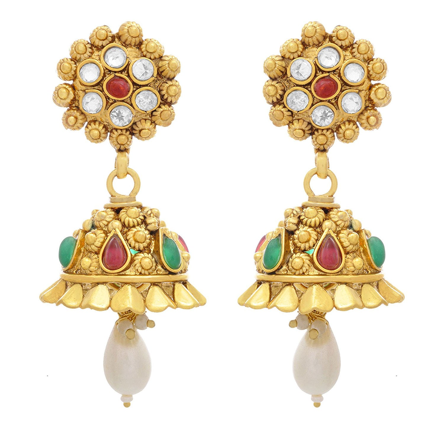 JFL - Traditional Ethnic Ruby Red Emerald Green One Gram Gold Plated Designer Jhumka Earrings studded with Austrian Diamonds for Girls & Women.