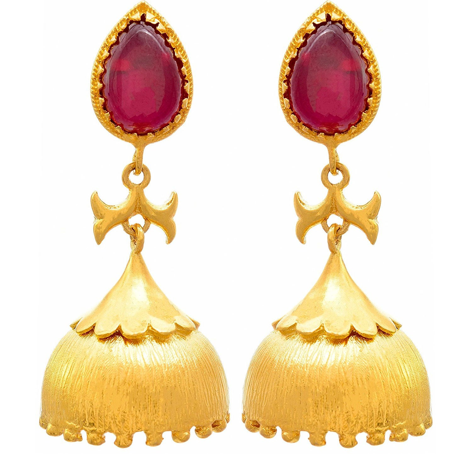 JFL - Traditional Ethnic One Gram Gold Plated Stone Designer Jhumki Earring for Women & Girls
