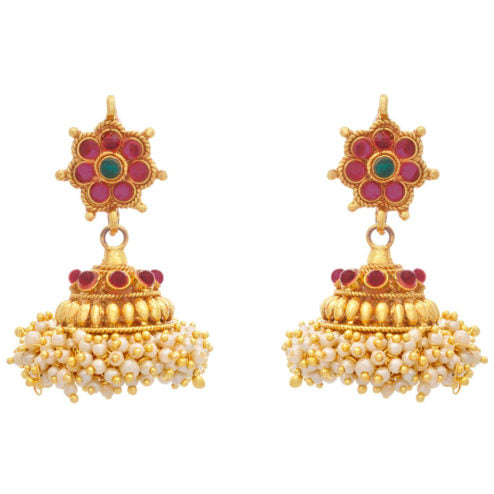 JFL - Jewellery For Less  One Gram Gold Plated With Pink Stone & Pearls Jhumki Earrings For Girls/Women