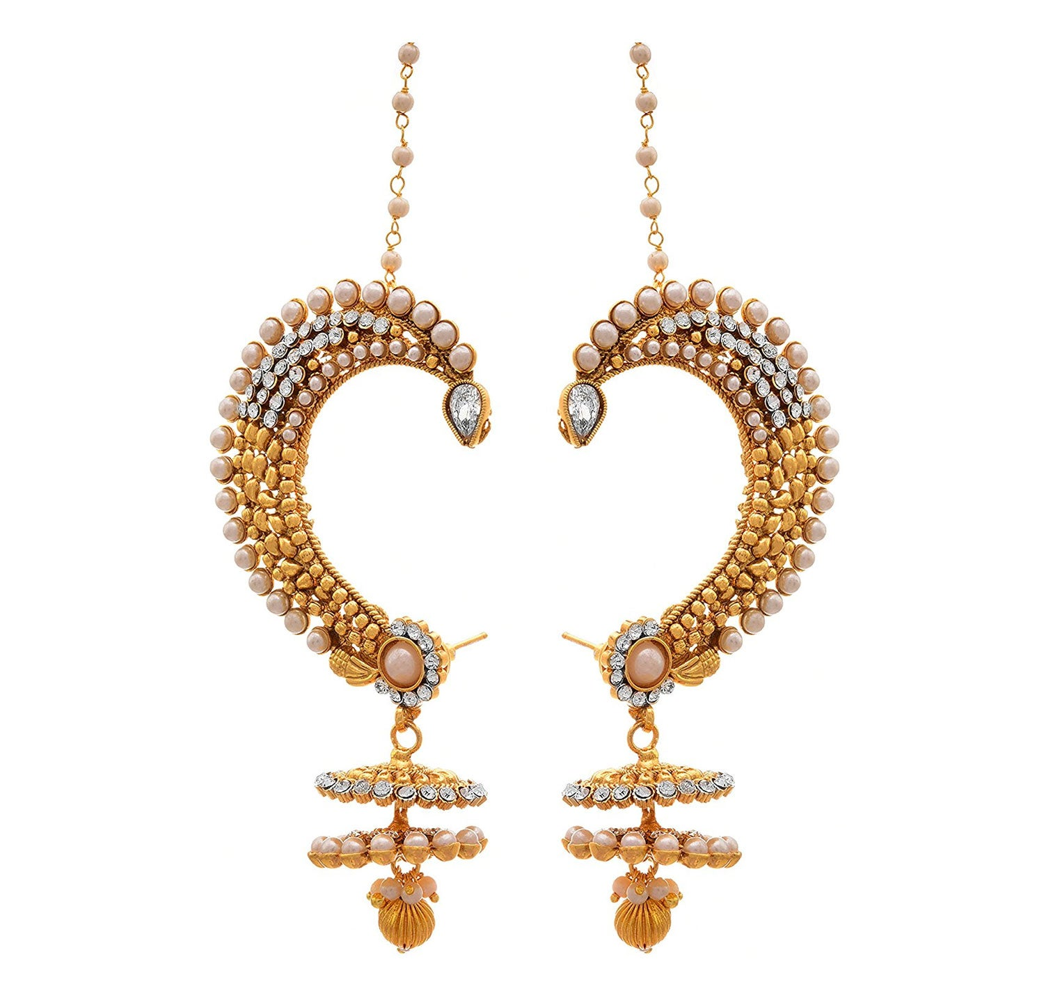 Traditional Ethnic One Gram Gold Plated White Diamond Pearls Designer Ear Cuff Earrings for Women & Girls.