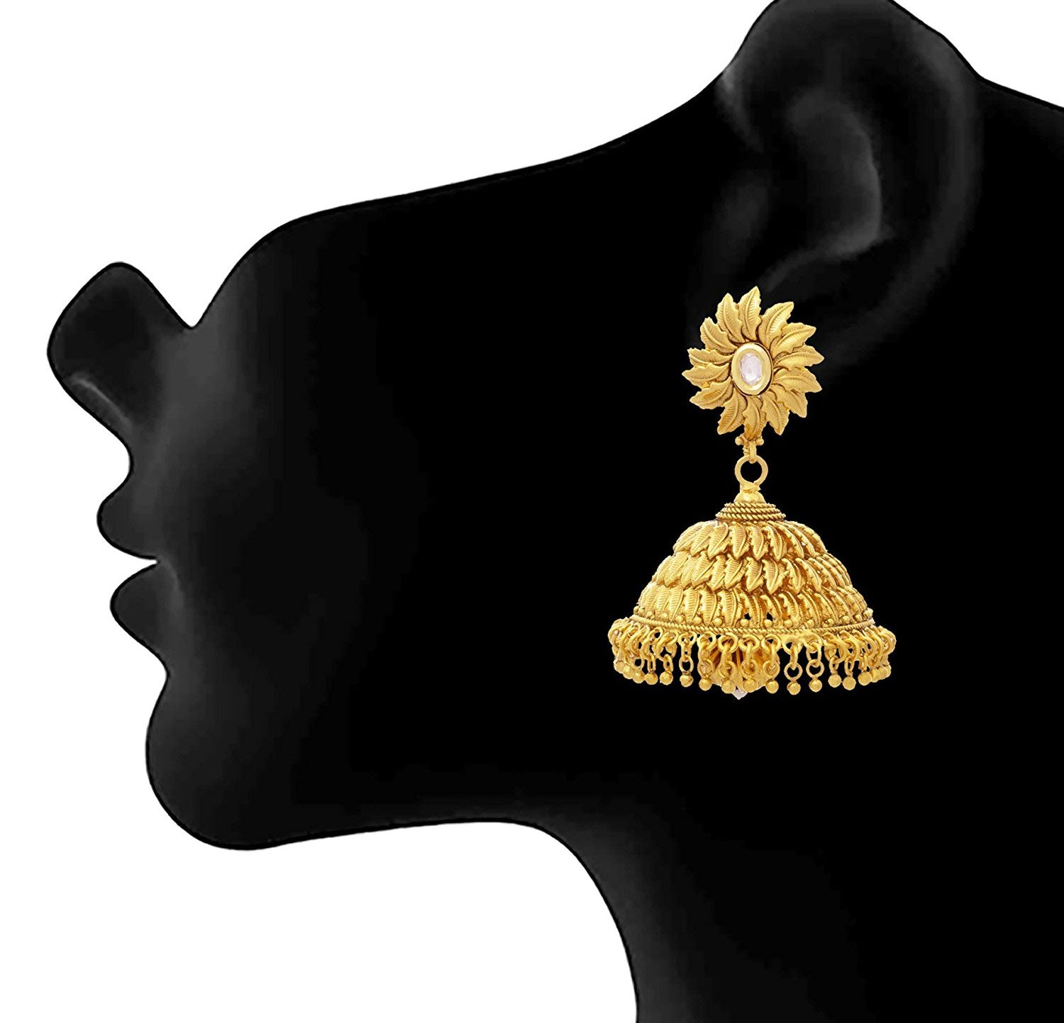 Jfl - Jewellery For Less Traditional Ethnic One Gram Gold Plated Kundan Leaf Jhumka Earrings For Women