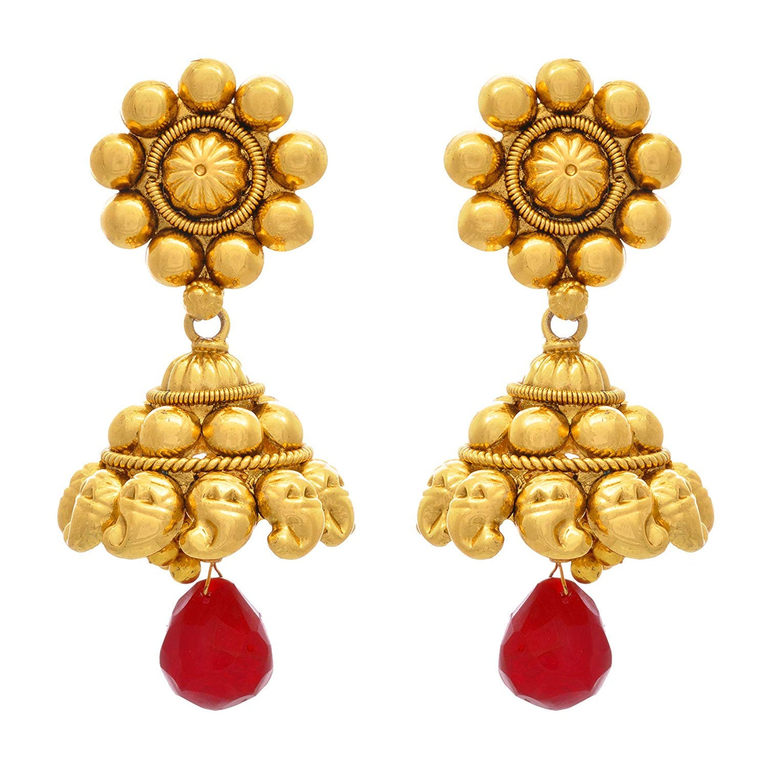 JFL - Jewellery for Less Traditional Ethnic One Gram Gold Plated Red Dangler Designer Jhumki Earring For Women & Girls.