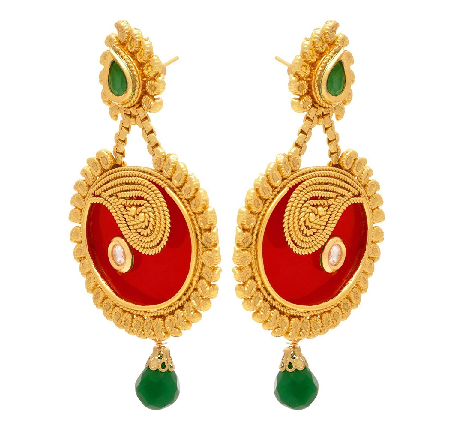 JFL - Traditional Ethnic Radiant Ruby Emerald One Gram Gold Plated Sensational Designer Earrings for Women and Girls