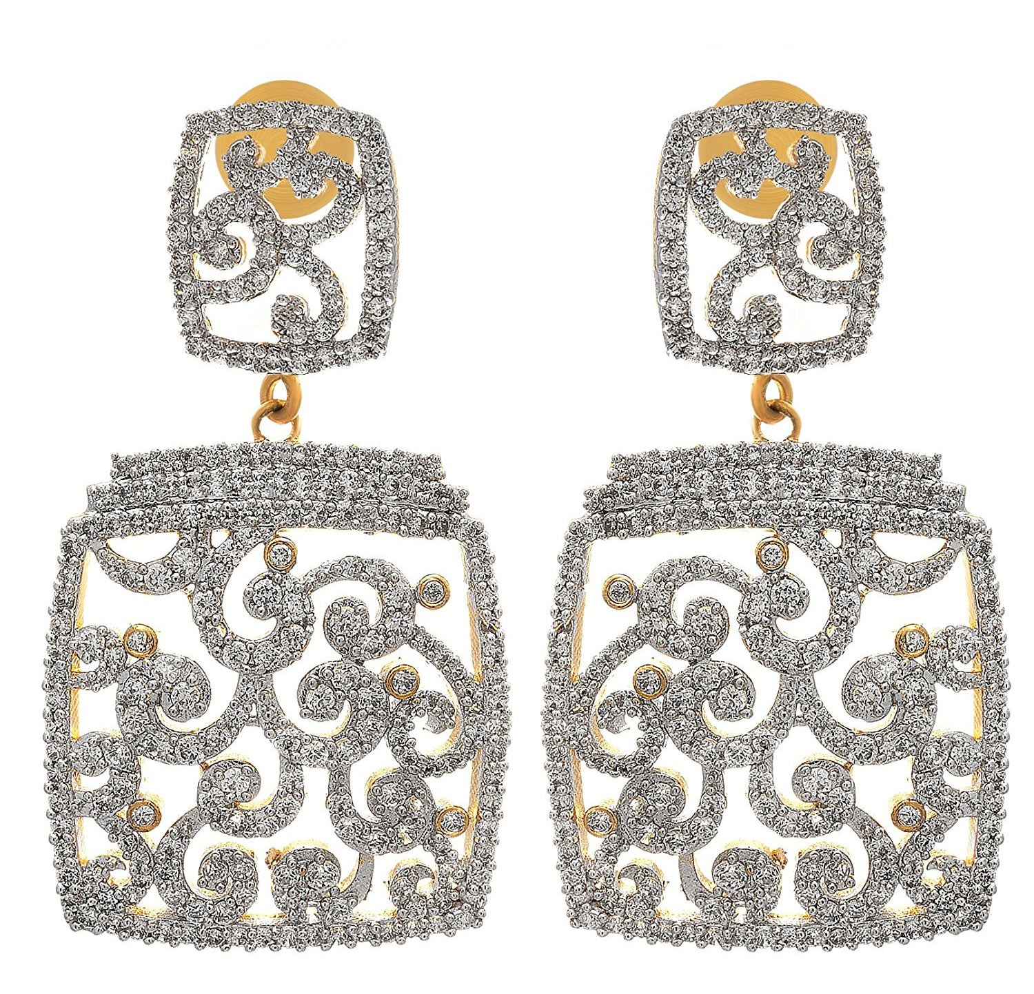 JFL- Fusion Ethnic One Gram Gold Plated Cz Cubic Zircon American Diamond Designer Earrings for Women and Girls.