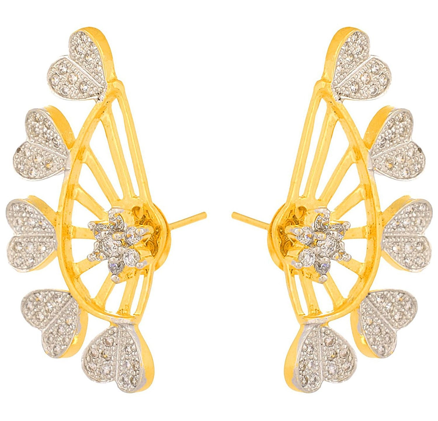 JFL- Traditional Ethnic Cz American Diamond One Gram Gold Plated Designer Earcuff Heart shaped for Girls and Women