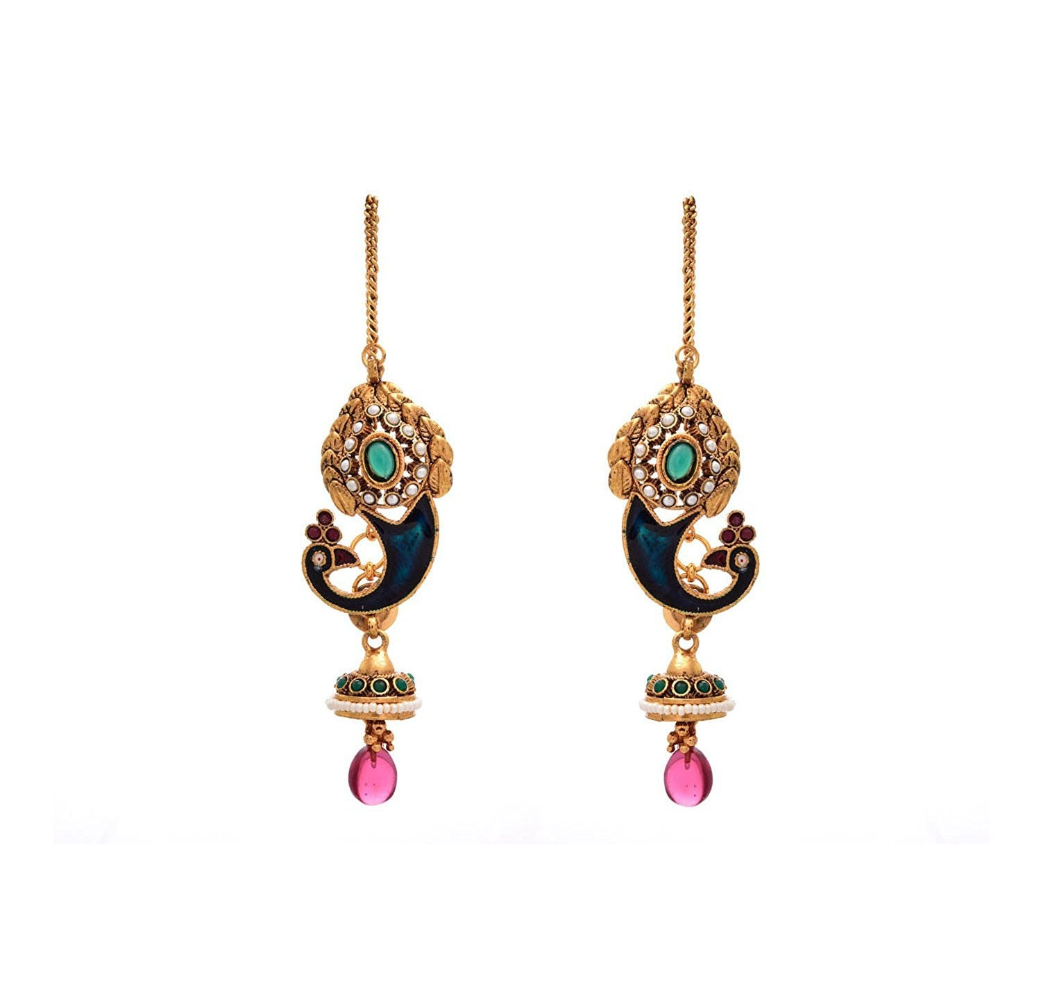 JFL - Traditional Ethnic Meenakari Enamel Peacock Blue Pink Green One Gram Gold Plated Designer Earrings with Pearls for Women and Girls