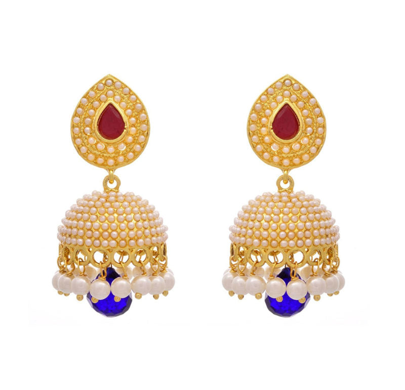 JFL - Jewellery For Less Traditional & Evergreen Red & Blue Pearl Jhumka Earrings For Women