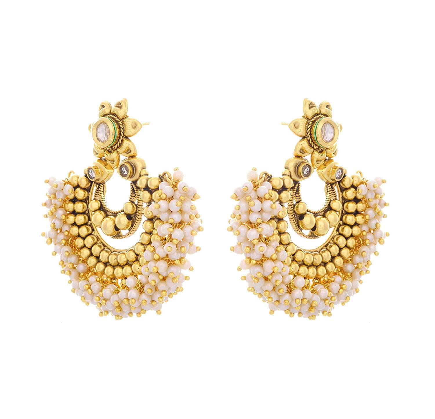 JFL- Traditional Ethnic One Gram Gold Plated Pearls Designer Earrings for Women and Girls.