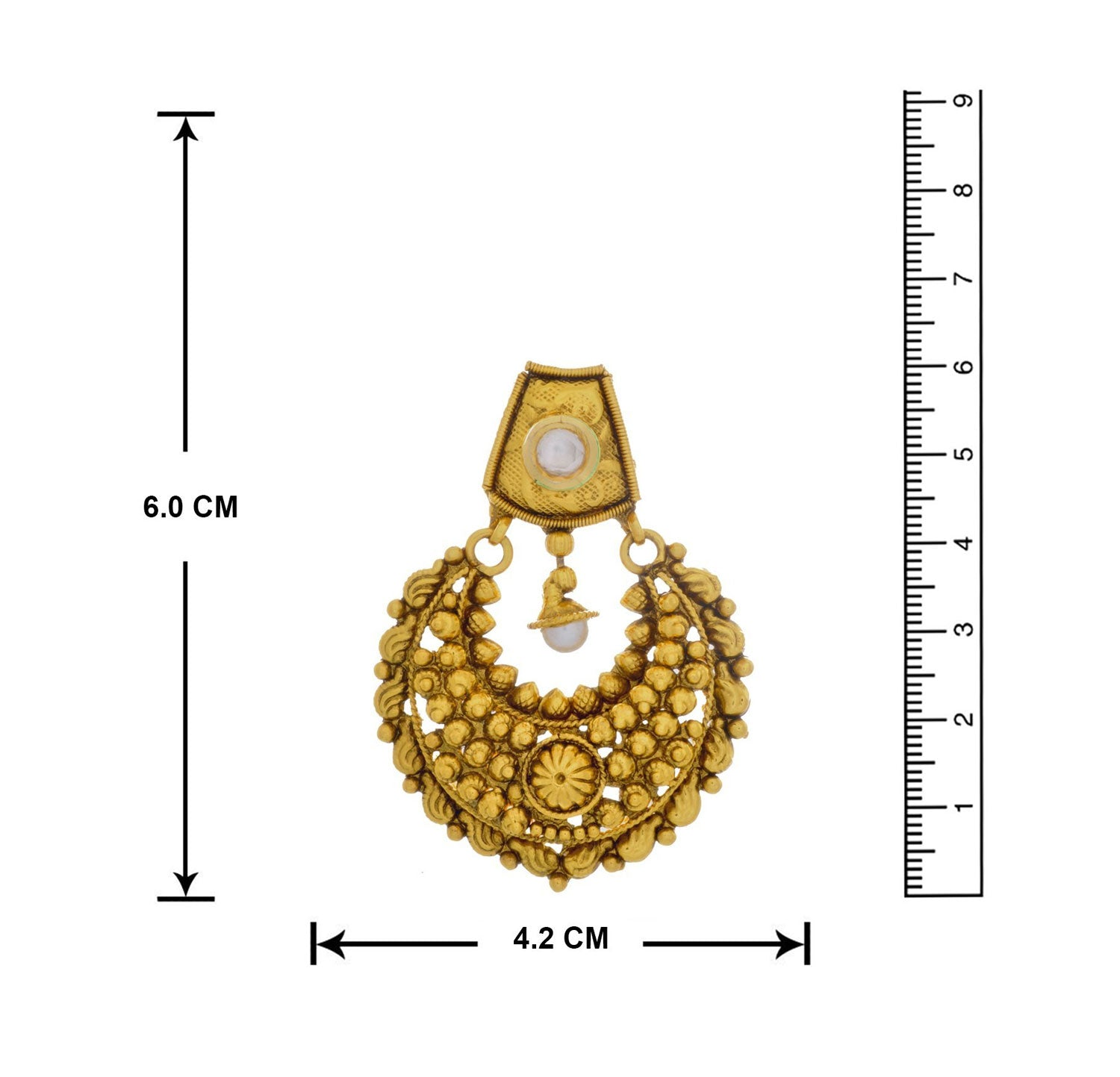 JFL- Traditional Ethnic One Gram Gold Plated Kundan Designer Chand Bali Earrings for Women and Girls.