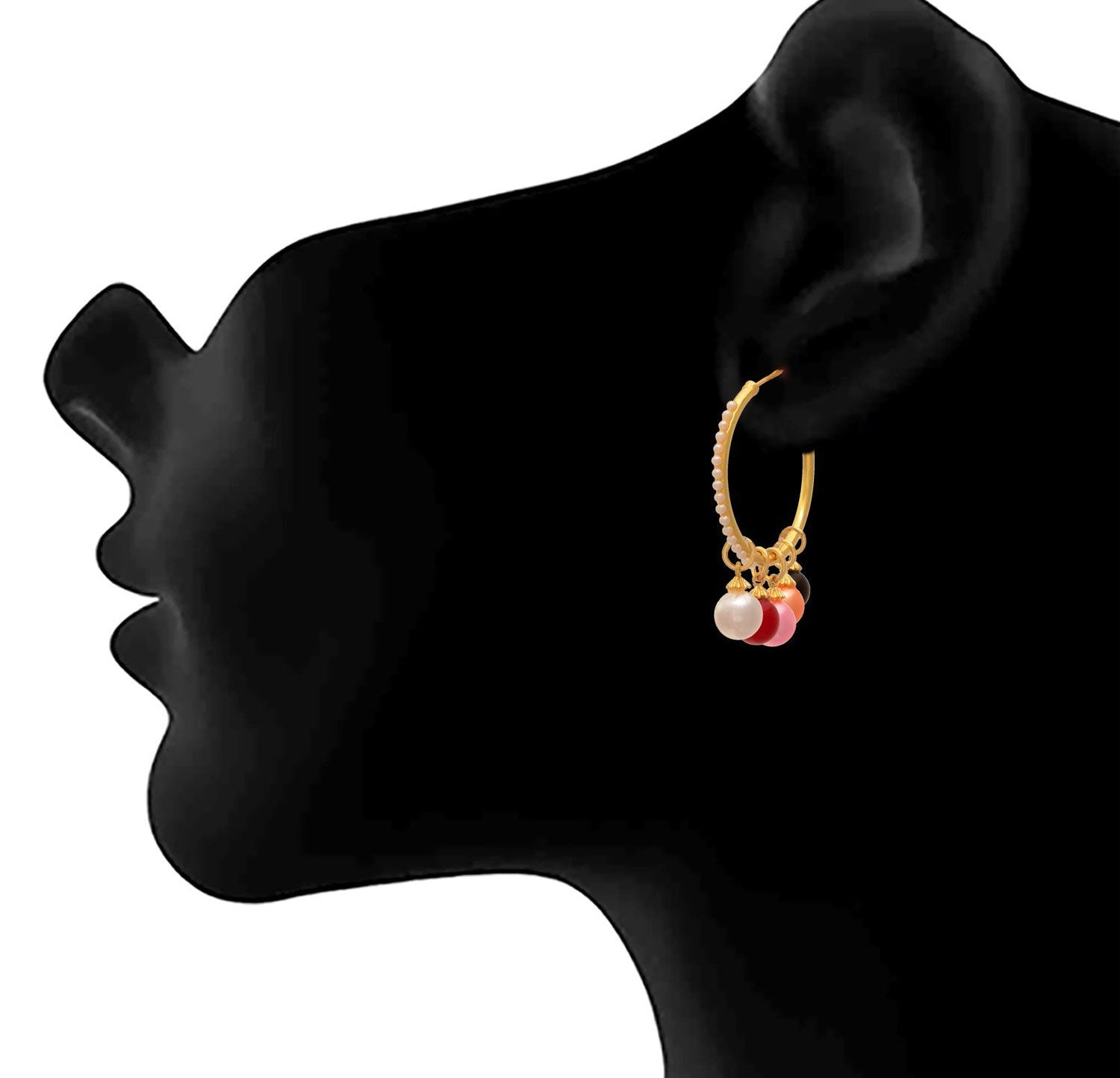 JFL -Traditional Ethnic One Gram Gold Plated Multicolour Pearl Designer Earring for Women & Girls.