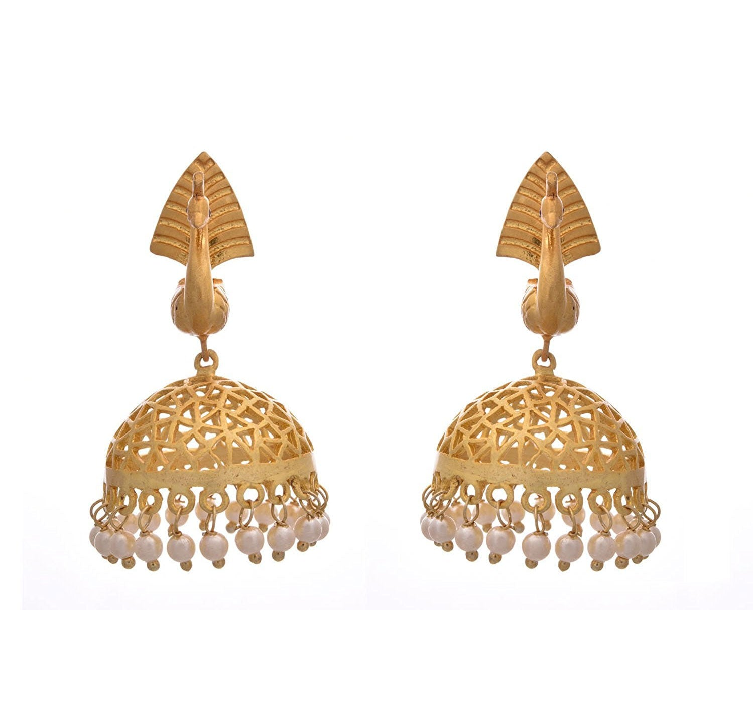 JFL - Traditional Ethnic Fusion Filigree Peacock One Gram Gold Plated Designer Jhumka with Matt Gold Finishing and Jali Work for Girls & Women