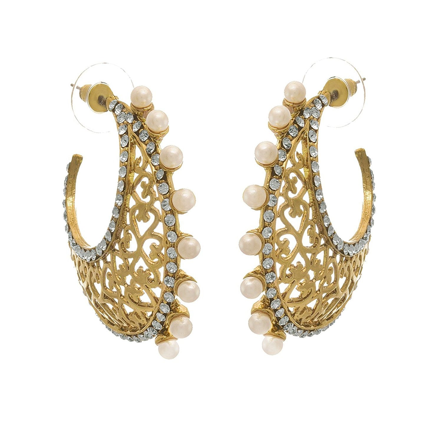 JFL - Traditional Ethnic & Fusion One Gram Gold Plated Diamond & Pearl Designer Earring for Women & Girls.