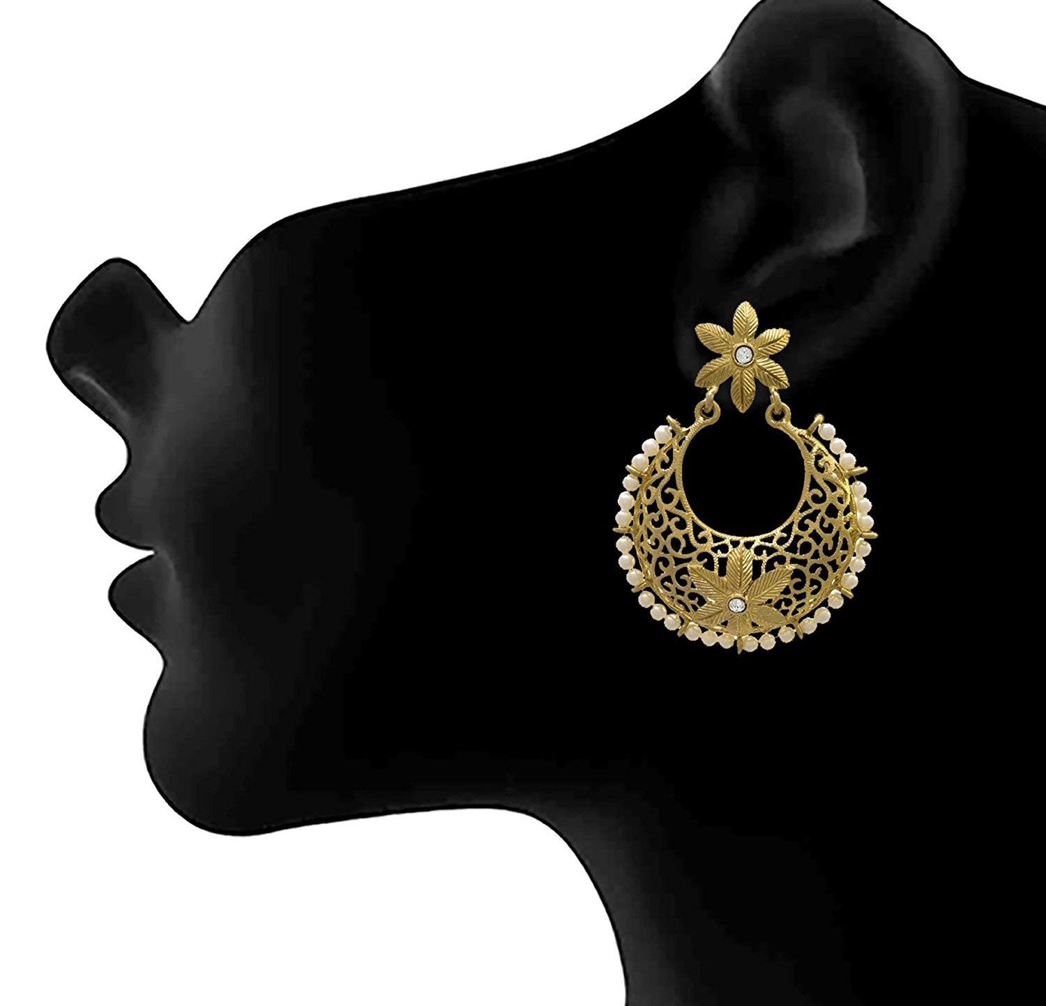 JFL - Traditional & Ethnic One Gram Gold Plated Designer Earring with Diamond & Pearls for Women & Girls