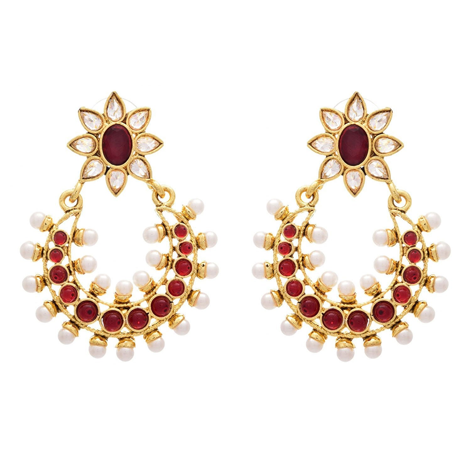 JFL - Traditional Ethnic Fusion Floral Flower Polki Diamonds Red One Gram Gold Plated Earrings studded with Pearls for Girls & Women