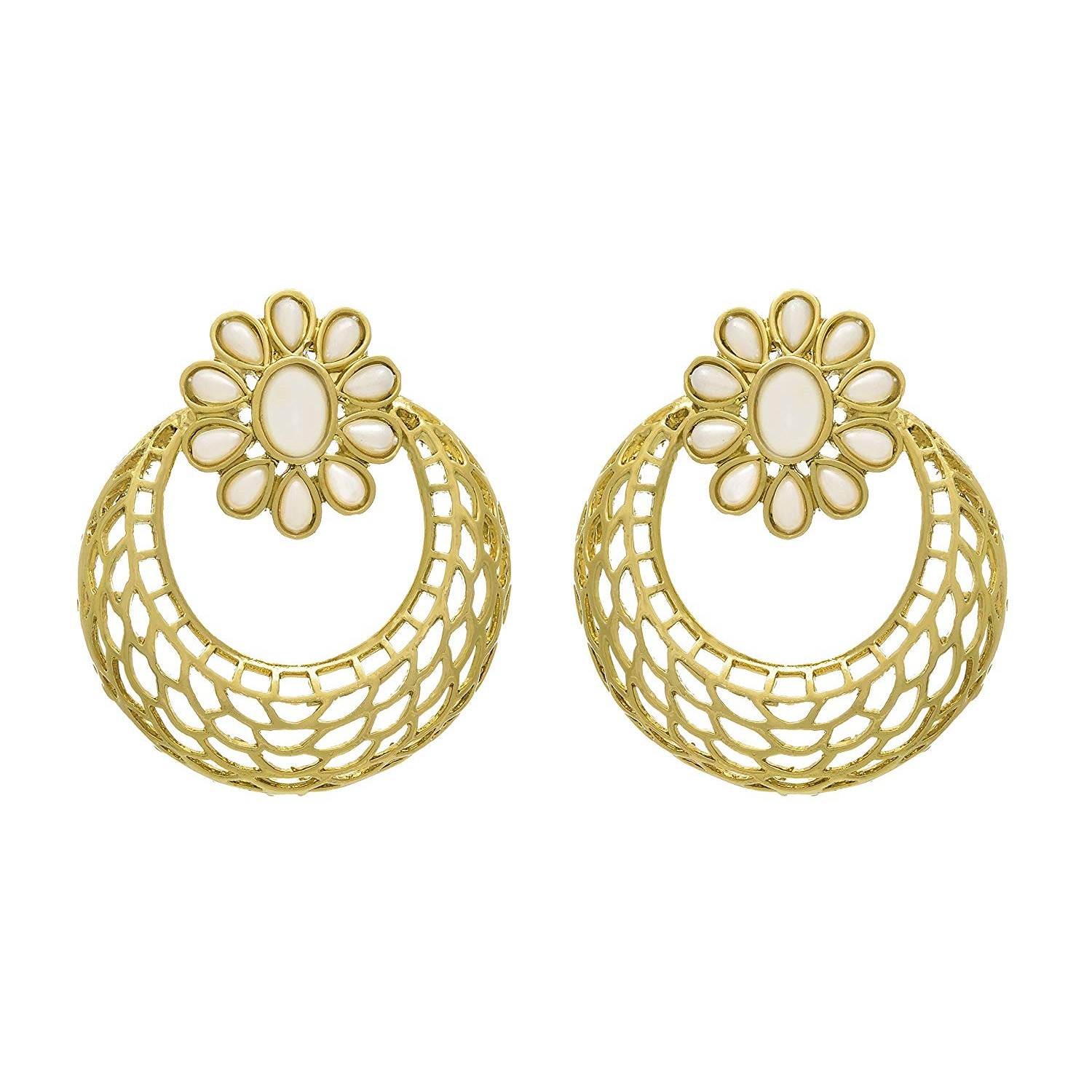 JFL - Fusion Ethnic Chand Bali Designer Earrings studded with Pearls and Intricate Jali Work for Women and Girls