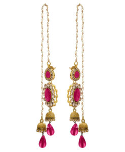 JFL - Jewellery for Less Traditional Ethnic One Gram Gold Plated Diamond Pink Stone Pearl Designer Earring for Women & Girls