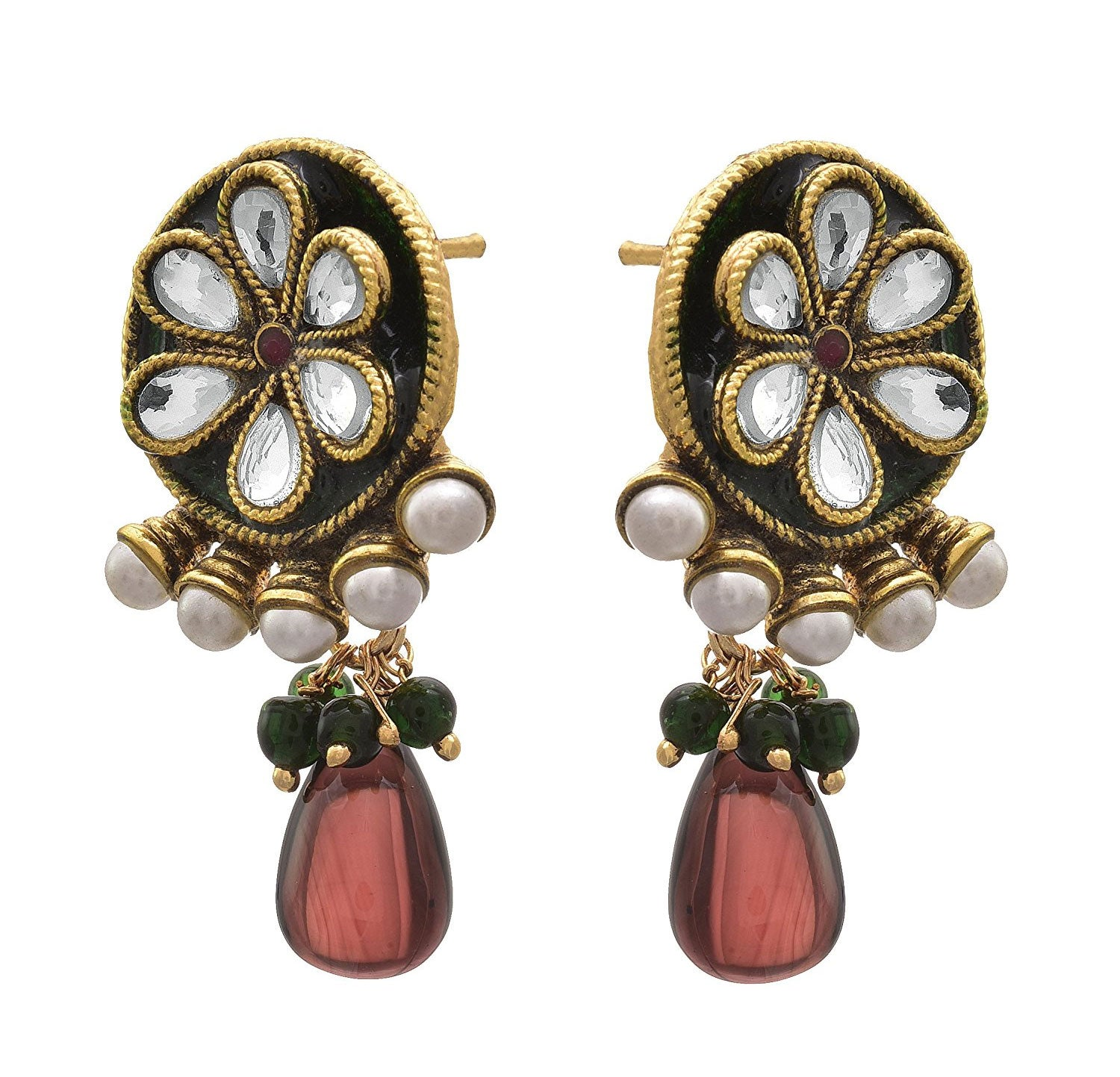 JFL - Traditional Ethnic One Gram Gold Plated Designer Earring for Women & Girls.